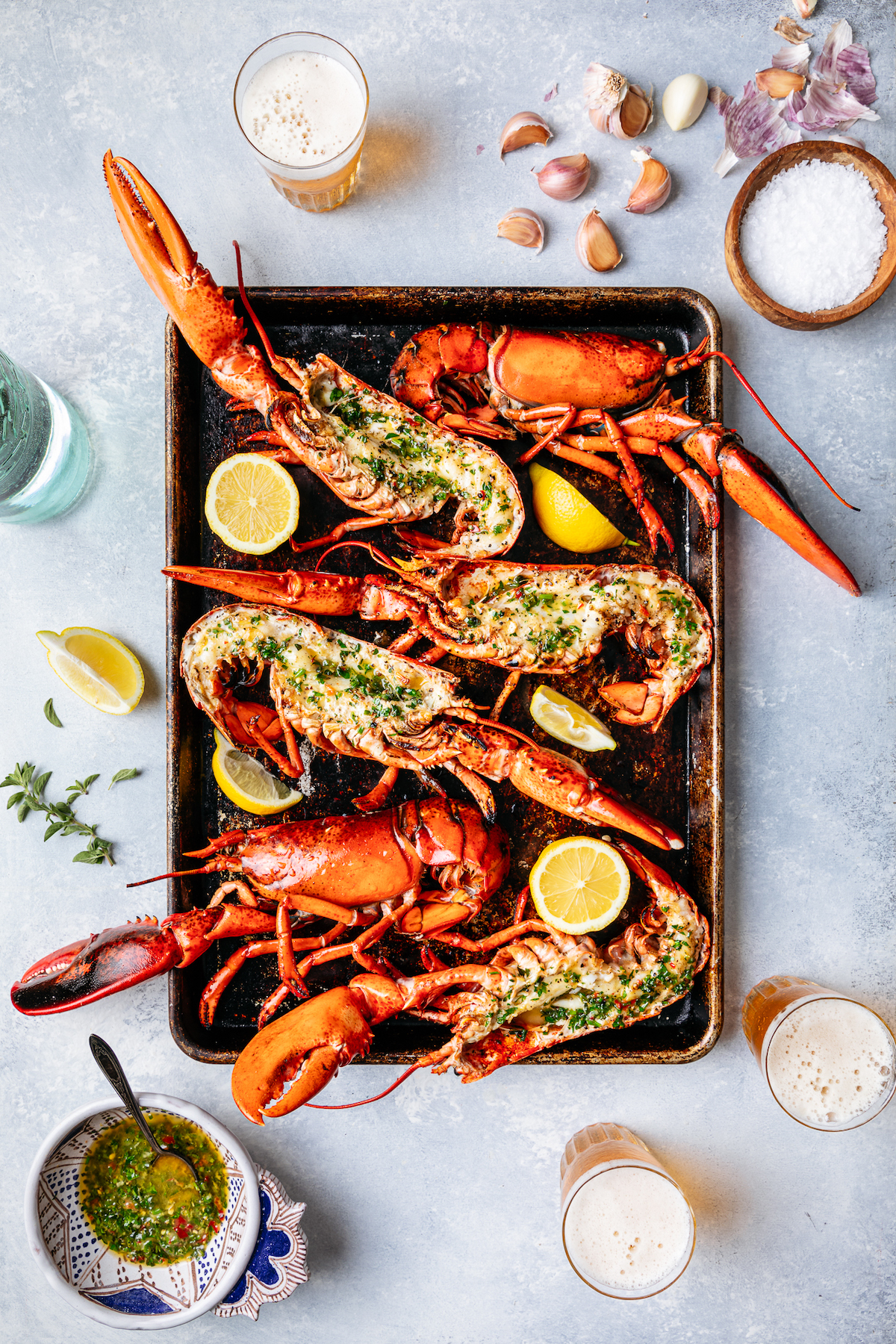 Split Whole Broiled Maine Lobster with Lemon Herb Butter