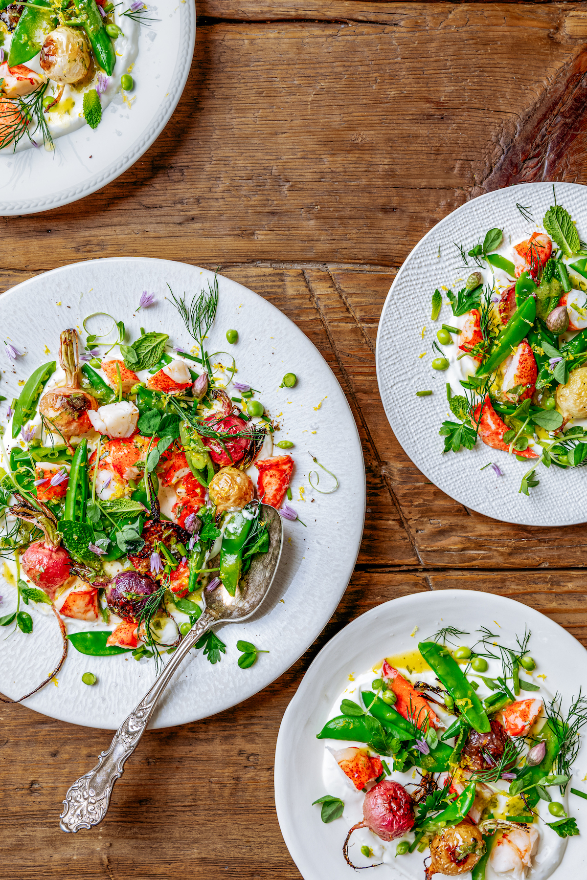 Maine Lobster Salad with Spring Peas, Radish and Tarragon Vinaigrette